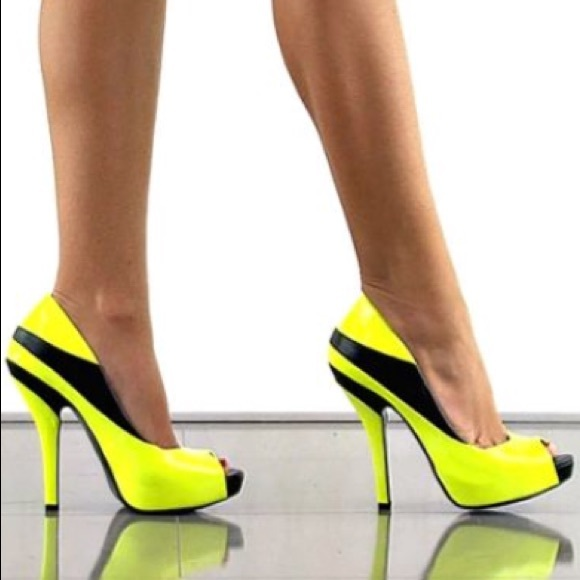 BCBGeneration Shoes - Neon Yellow and Black Patent Open Toe Heels ac3498f16